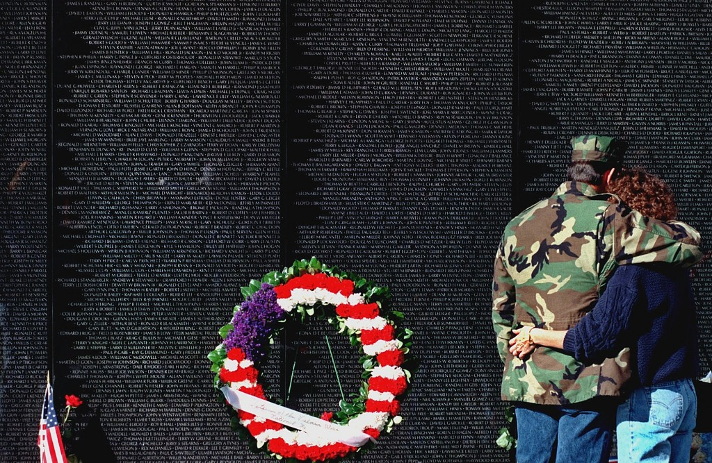 Chip and Laura Sours of Ft. Ashby, West Virginia, stand in front of the Vietnam Veterans Memorial. Chip was in Vietnam and Cambodia in 1975 as part of the security force covering the evacuation of South Vietnam. (Photo: Newscom)