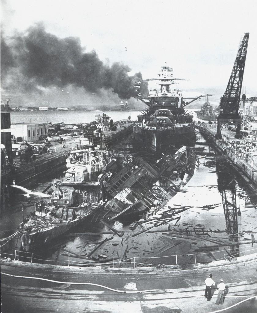 Pearl Harbor destruction after Japanese 'Kamikaze' attacks. (Photo: Newscom)