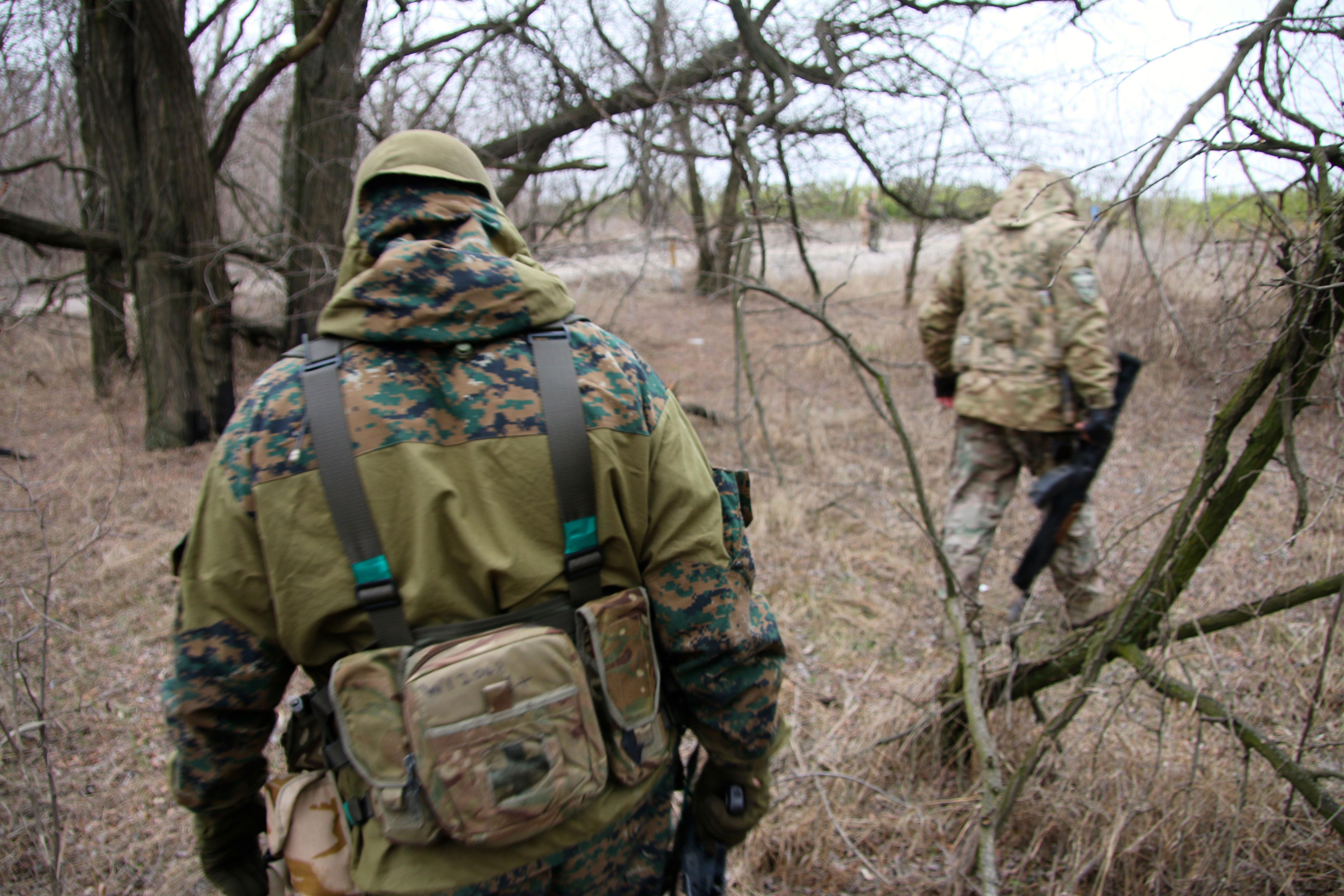 Ukrainian troops on patrol in eastern Ukraine.