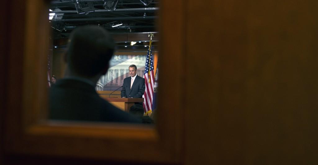 Speaker of the House John Boehner, R-Ohio, speaks on the ongoing DHS funding debate on Capitol Hill Feb. 26, 2015. (Photo: Kevin Dietsch/UPI/Newscom)