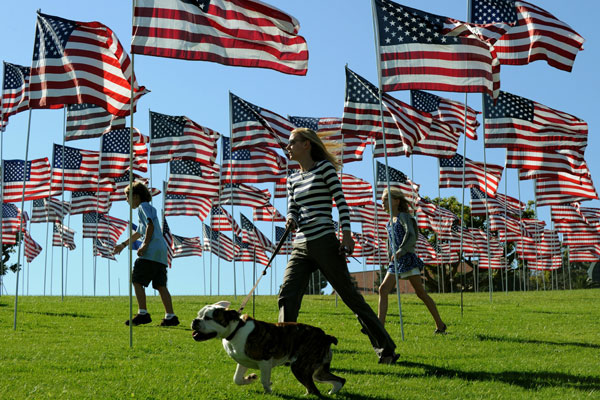 American flags and people