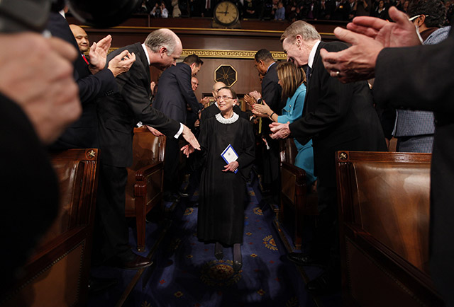 Justice Ruth Bader Ginsburg arrives for President Barack Obama to address to a joint session of Congress in the House Chamber of the U.S. Capitol Feb. 2009. (Photo: Pablo Monsivais/Newscom)