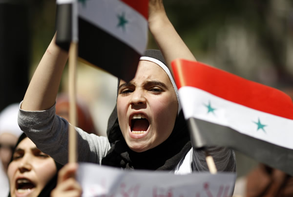 A Syrian living in Turkey shouts slogans during a protest against the government of Syria's President Bashar al-Assad