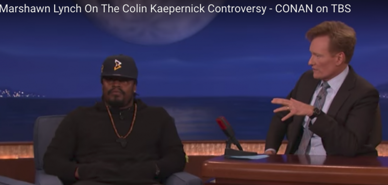 Marshawn Lynch on Conan in September 2016.  (Screenshot: YouTube)