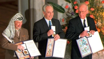 Arafat, Peres, and Rabin with their shared Nobel Prize, 1994.