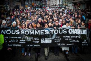 Protest against Charlie Hebdo shooting, Strasbourg, France.