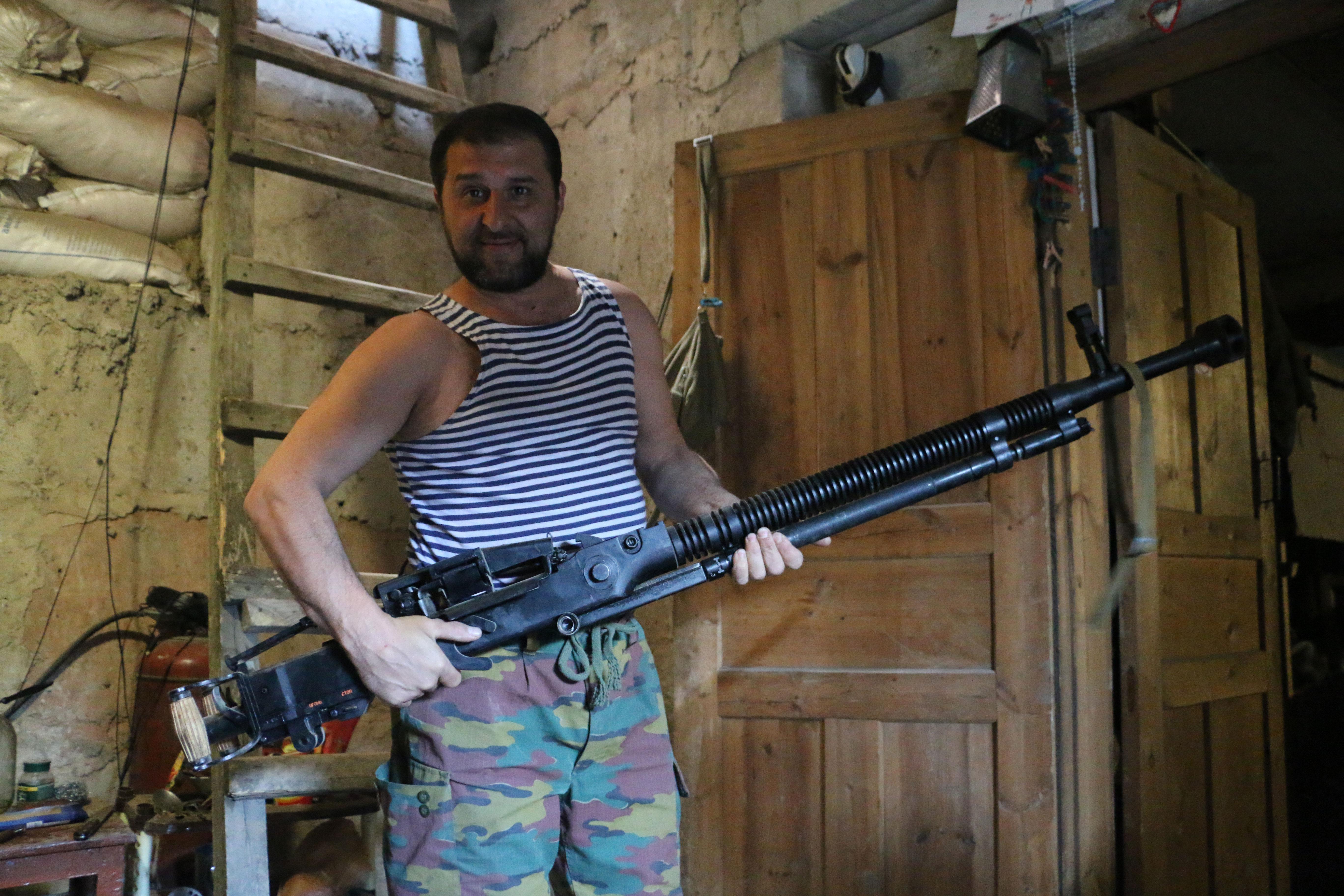 Ukrainian troops use surplus Soviet weapons on the front lines in eastern Ukraine.