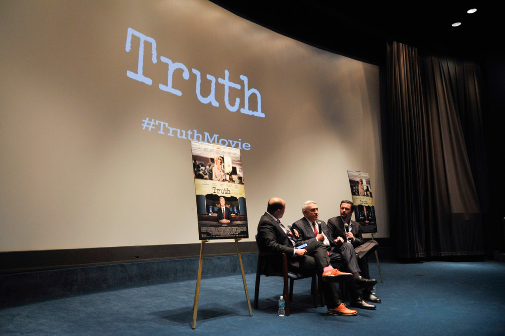 Brian Stelter, left, from CNN's Reliable Sources speaks with former CBS News anchor Dan Rather and Truth director James Vanderbilt following the movie's screening in Washington, D.C., on Oct. 14. (Photo: Kris Connor/Sipa USA/Newscom)