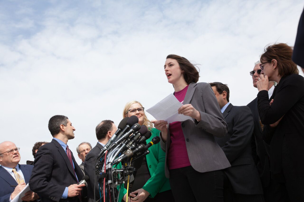 Elsa Spear, a junior at Geneva College in Beaver Falls, Pa., speaks about religious liberty outside the Supreme Court Wednesday, March 23. (Photo: Alliance Defending Freedom)