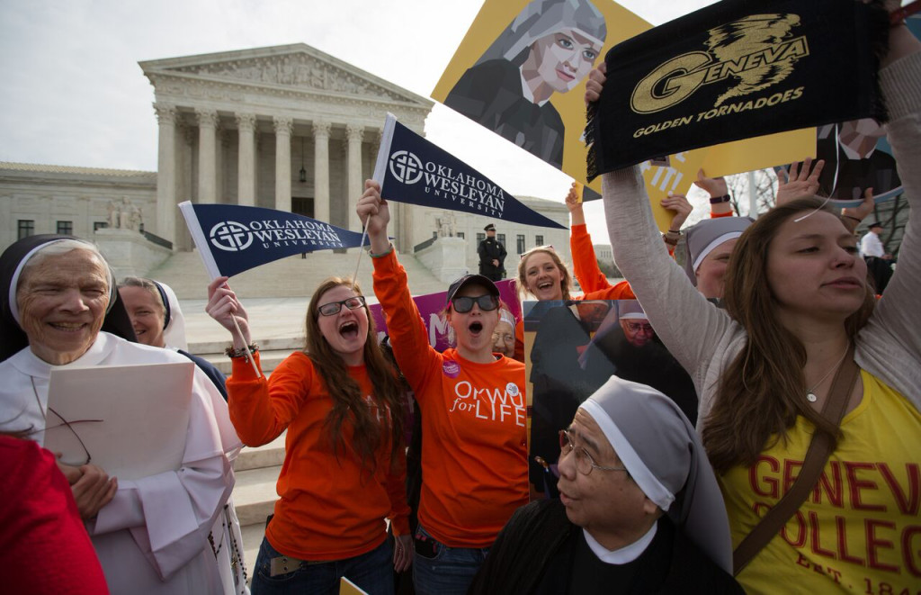 Students from Oklahoma Wesleyan University and Geneva College join hands with nuns in opposing what's been coined the Obamacare contraceptive mandate. Both schools are being represented before the Supreme Court by the legal group Alliance Defending Freedom. (Photo: Alliance Defending Freedom)