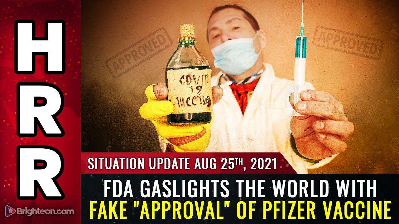 """Image: FDA gaslights the world with FAKE """"approval"""" of Pfizer vaccine while Biden's fake presidency collapses"""