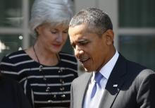 Kathleen Sebelius and Barack Obama