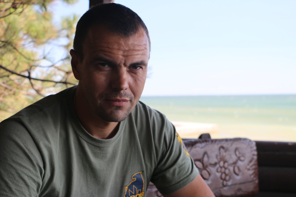 """Apis,"" 42, the Azov Battalion's deputy regiment commander in Urzuf (Photo: Nolan Peterson/The Daily Signal)"