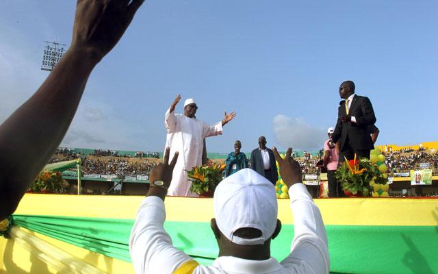 Former Malian Prime Minister and presidential candidate Ibrahim Bboubacar Keita (C) (HABIBOU KOUYATE/AFP/Getty Images/Newscom)