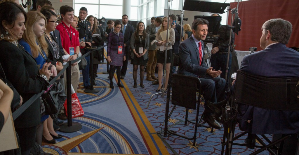 Sean Hannity interviews Louisiana Gov. Bobby Jindal during the Conservative Political Action Conference at the Gaylord National Conference Center in Maryland. (Photo: Evelyn Hockstein/McClatchy DC/TNS/Newscom)