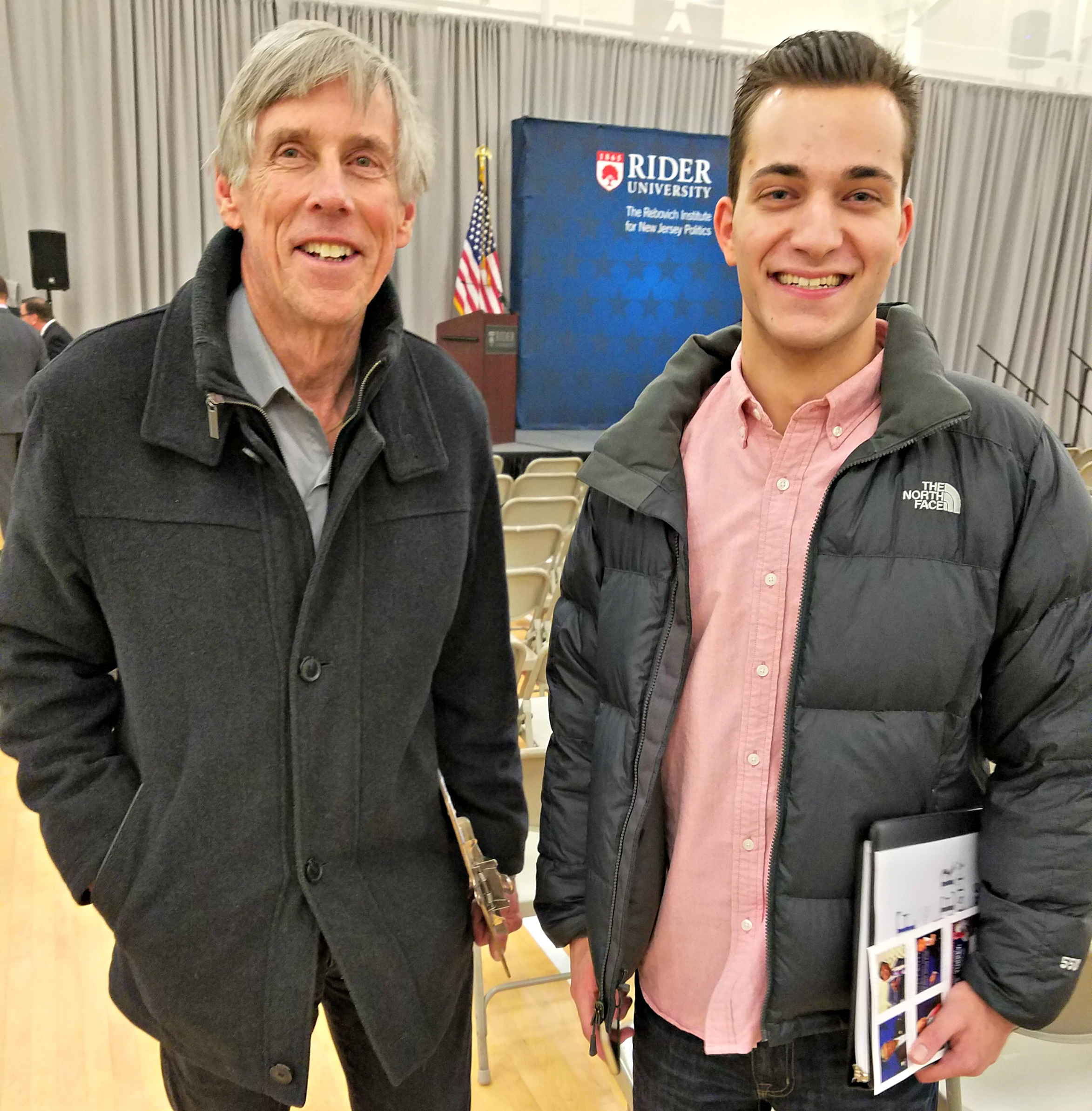 Tom Simonet, a professor of journalism at Rider University, after the Gingrich speech with journalism major Brandon Scalea from Marlboro, New Jersey. (Photo: Kevin Mooney/The Daily Signal)