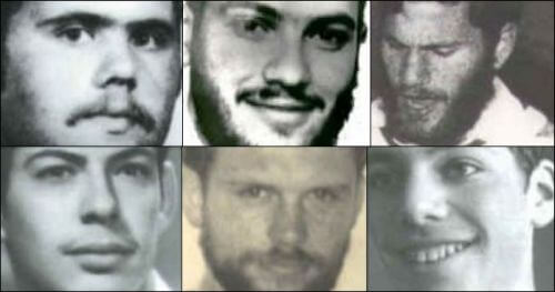 The six Jews killed in a May, 1980 terror attack involving newly elected Hebron Mayor Tayseer Abu Shneineh: Clockwise from top center: Shmuel Mermelstein, Tzvi Glatt, Hanan Krauthammer, Eli HaZe'ev, Gershon Klein and Yaakov Zimmerman