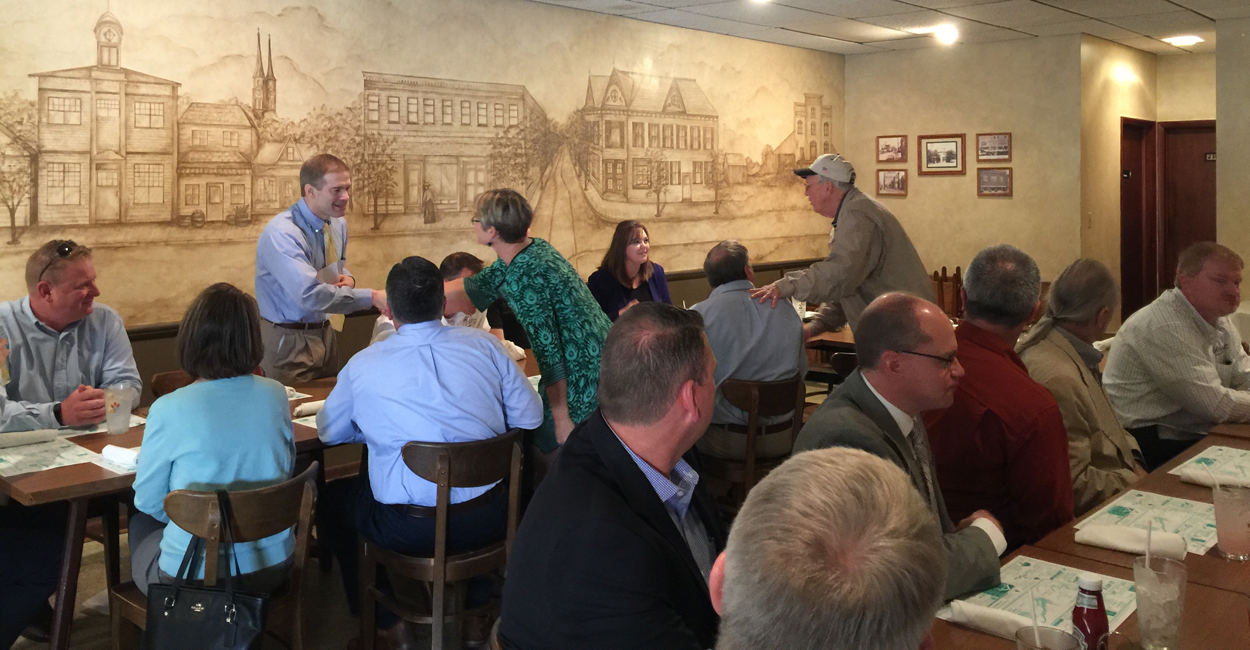 During a lunch with small business owners in Minster, Ohio, Rep. Jim Jordan, R-Ohio, explained to attendees why Congress decided to tackle health care reform first. (Photo: Melissa Quinn/The Daily Signal)