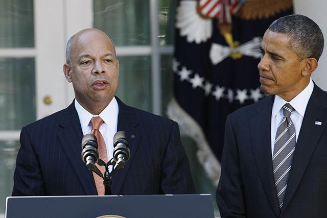 Secretary of Homeland Security Jeh Johnson and President Barack Obama. (Photo credit: Fang Zhe)