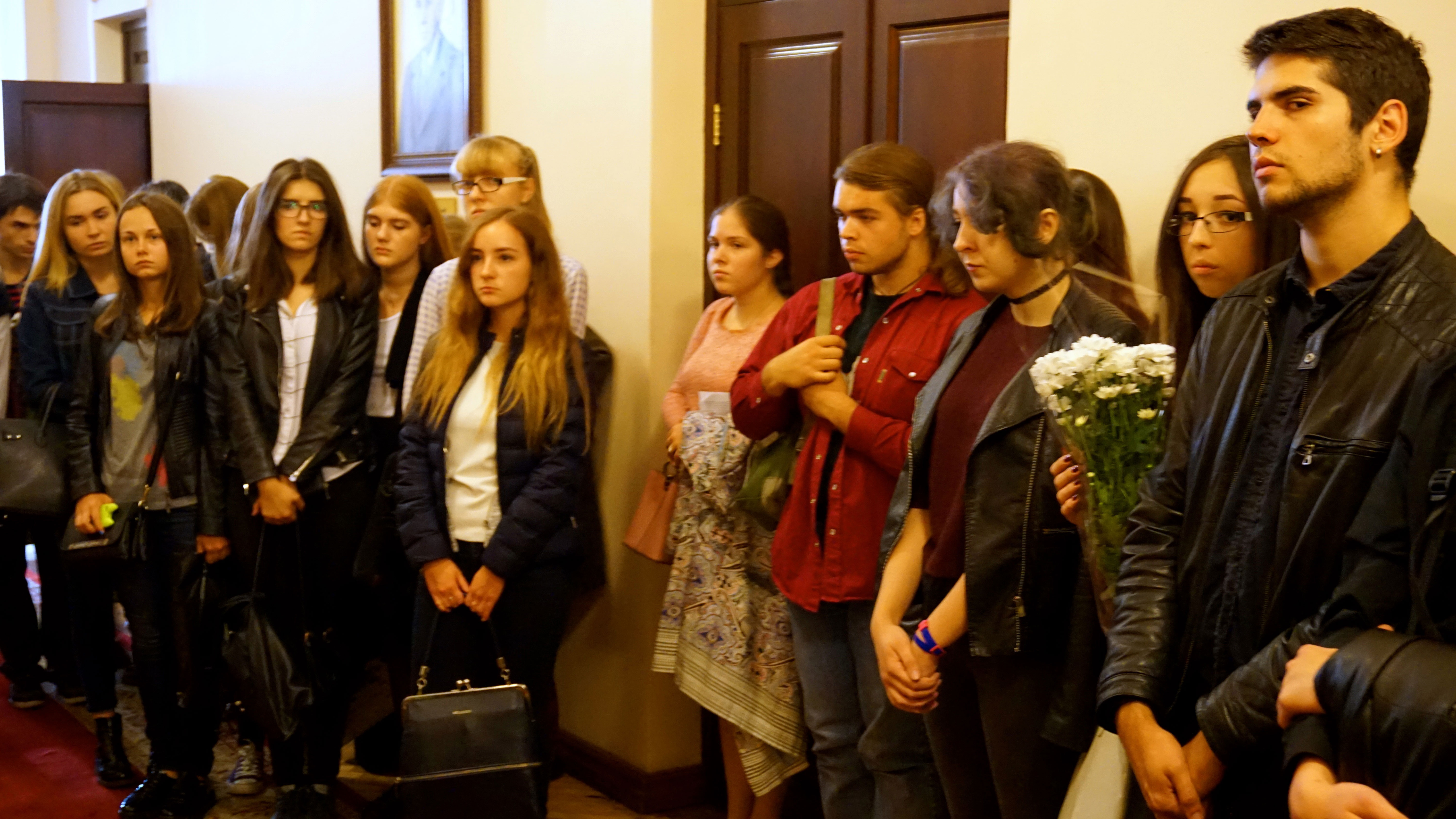 University students gathered for a memorial ceremony to commemorate the two-year anniversary of Sviatoslav Horbenko's death while fighting in eastern Ukraine. (Photo: Nolan Peterson/The Daily Signal)