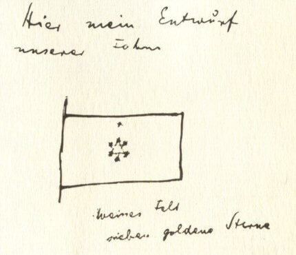 Herzl's proposed flag, as sketched in his diaries. Although he drew a Star of David, he did not describe it as such. Sketch of Herzl's proposal for the flag of the Zionist movement: Herewith my design for our flag white field seven golden stars