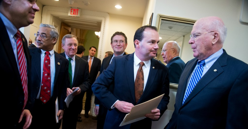 A bipartisan group of senators, including Mike Lee, R-Utah and Dick Durbin, D-Ill., reached a deal on their own reform bill last week. (Photo By Tom Williams/CQ Roll Call)