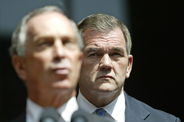 Michael Bloomberg and Tom Ridge. (Photo: Peter Foley/EPA/Newscom)