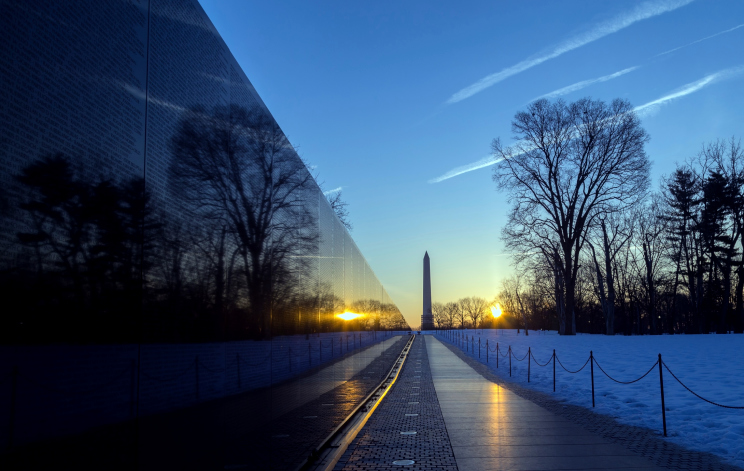 Vietnam Veterans Memorial Wall after sunrise. (Photo: Getty Images)