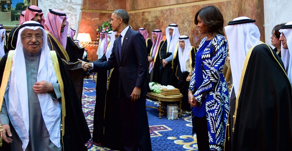 President Obama and First Lady Michelle Obama, joined by the new King Salman of Saudi Arabia, shake hands with members of the Saudi Royal Family at the Erqa Royal Palace in Riyadh, Saudi Arabia. (Photo: State Department/Sipa USA/Newscom)