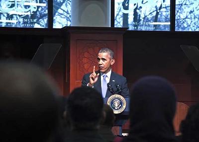 Obama at the Islamic Society of Baltimore.