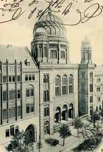 The Oranienbergerstrasse Synagogue in Berlin, the largest synagogue in the world when built in 1866. The Nazis destroyed it in 1938.