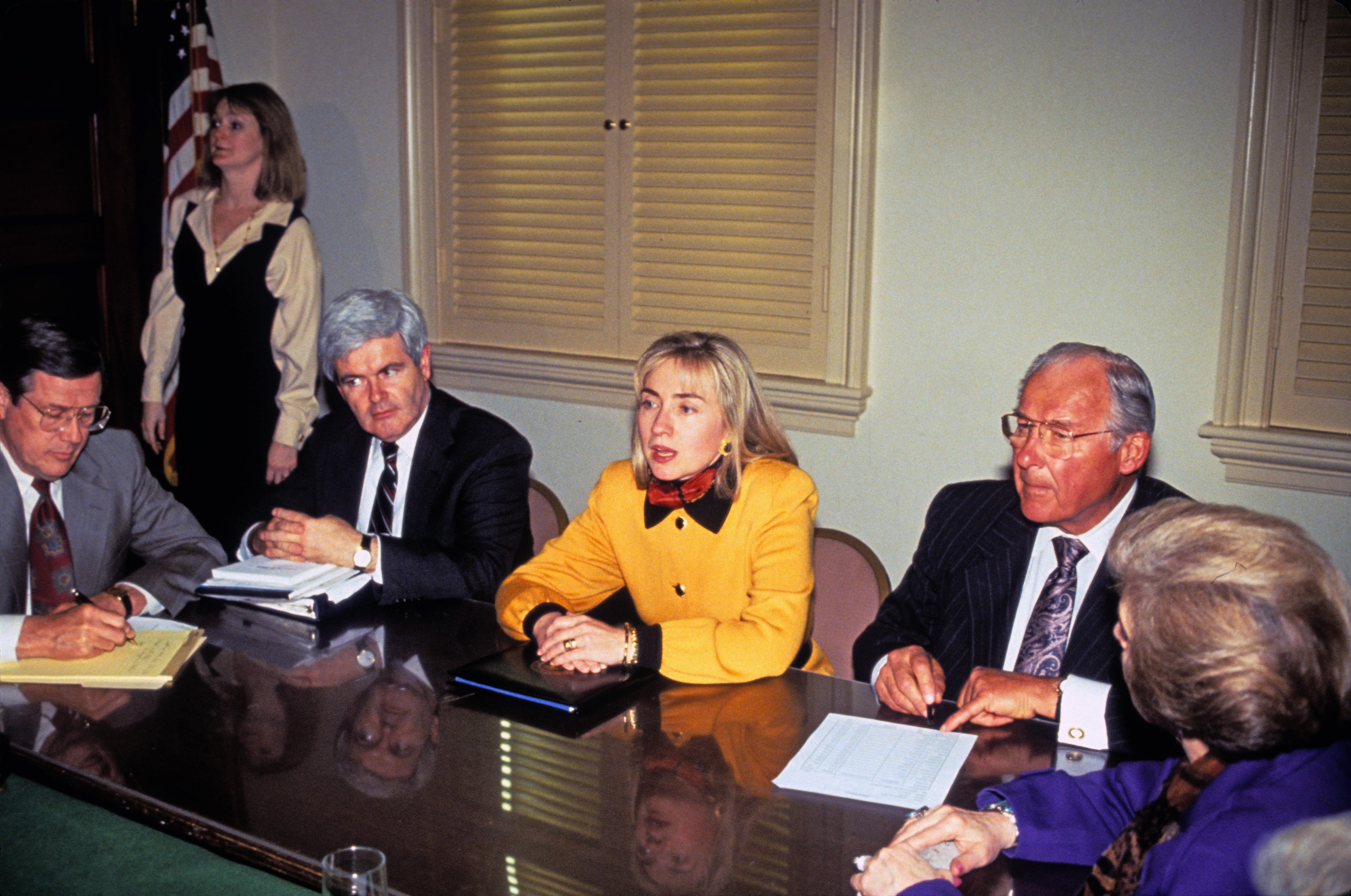 Clinton meets with United States House Minority Leader Robert H. Michel, right, and U.S. House Minority Whip Newt Gingrich, left, in the U.S. Capitol in Washington, D.C. on February 16, 1993. (Photo: Brad Markel/ZUMA Press/Newscom)