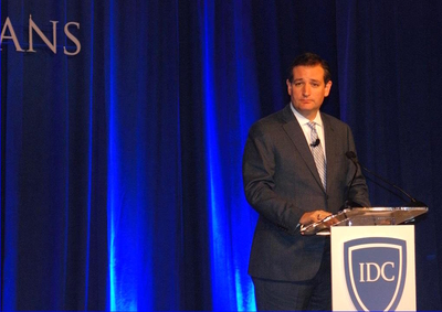"Sen. Ted Cruz at the ""In Defense of Christians"" conference - before he walked off the stage."