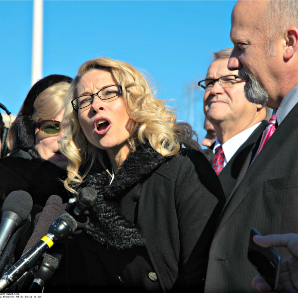 Rebecca Friedrichs, a California schoolteacher challenging union dominance, speaks with reporters Jan. 11 outside the Supreme Court after her case was heard. (Photo: Jeff Malet/SIPA/Newscom)
