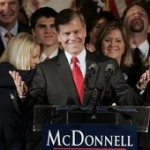 Republican Governor-elect Bob McDonnell waves to the crowd at his victory party in Richmond, Va