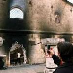 Destroyed Serbian Orthodox church near Preševo, Serbia