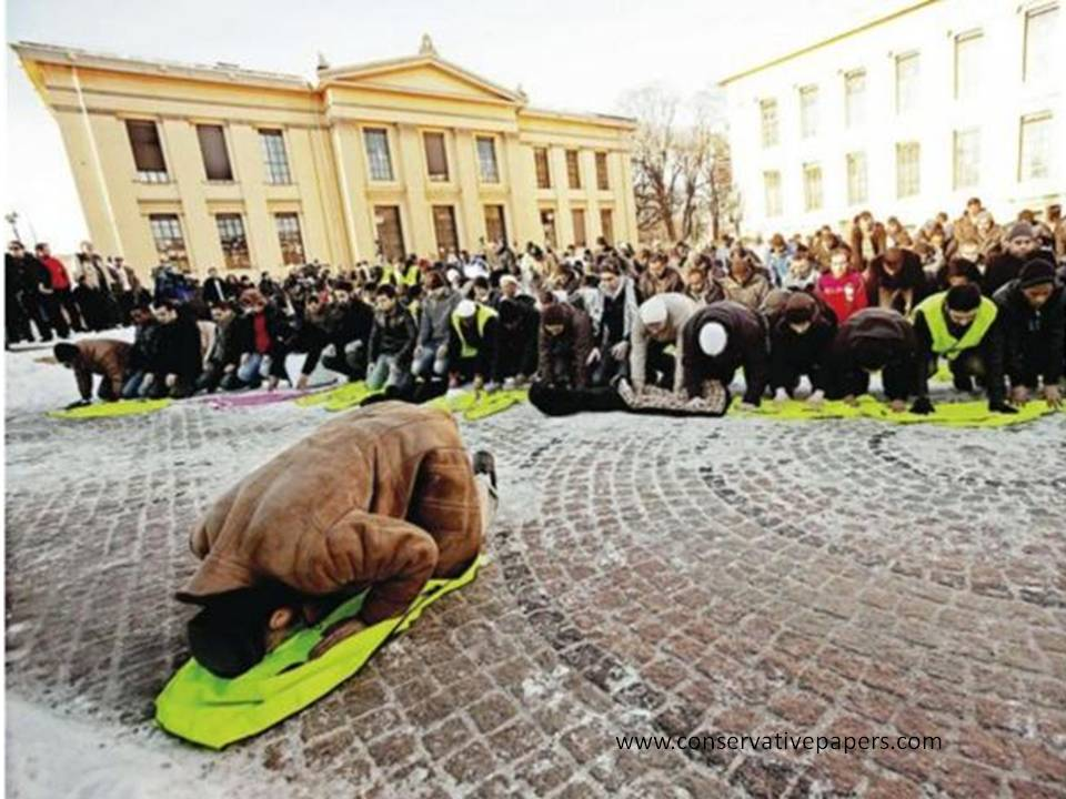 Muslim demonstrators gather at University Square in Oslo to protest against drawings of Muhammad, Calling for Norway's 9/11