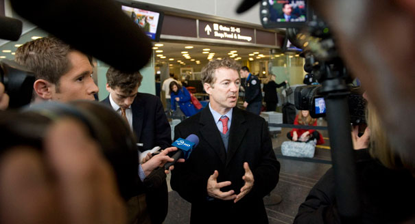 Rand Paul was detained 'indefinitely' after refusing a full body pat-down in Nashville. | John Shinkle/POLITICO