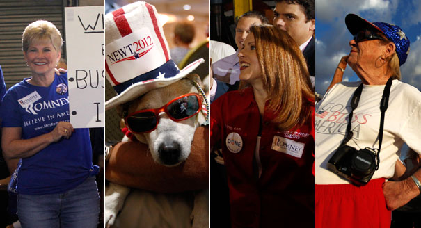 Romney's crowds appear prosperous, while Gingrich's would fit in nicely at the dog track. | AP Photos