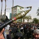 Terrorists brandish RPG in Gaza (file)
