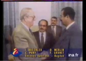 Saddam Hussein meeting with Jean-Marie Le Pen