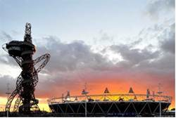 The sun sets at London's Olympic Park