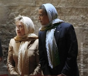 cinton and obama in Islamic clothes