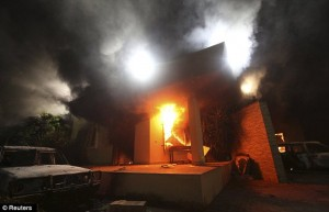 U.S. Consulate in Benghazi after the building was raided by gunmen who set it on fire.