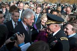 Clinton greets visitors during the opening ceremony of the Four Freedoms Park in New York