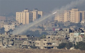 A Hamas Terrorist Rocket fired from a densely populated Gaza neighborhood