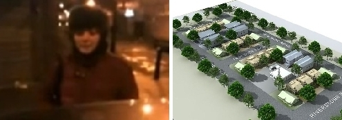 """Left: Told she """"cannot dress like that in a Muslim area,"""" a woman wearing a short skirt protests that she lives in Great Britain and is free to do as she wants. A member of the Muslim gang replies, """"It's not-so-great Britain."""" Right: An artist's conception of a tree-lined """"halal housing"""" complex proposed for the Sydney suburb of Riverstone."""
