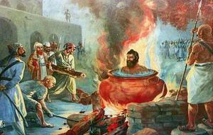 Bhai Dayala Ji being boiled alive by Mulims