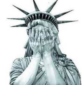 statue of liberty weeping crying