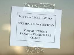 ft hood shut down sign
